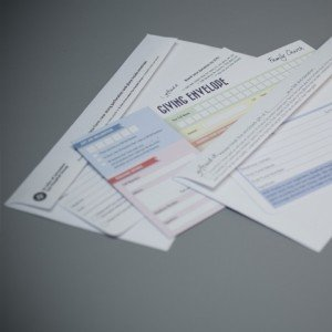 Extended Tear Off-Flap Bangtail perforated envelope printed full colour