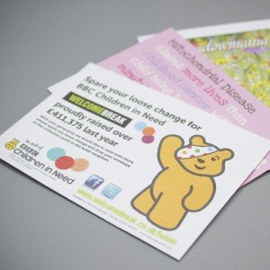 Small 124-x-97mm or 124x89mm charity gift aid donation envelope