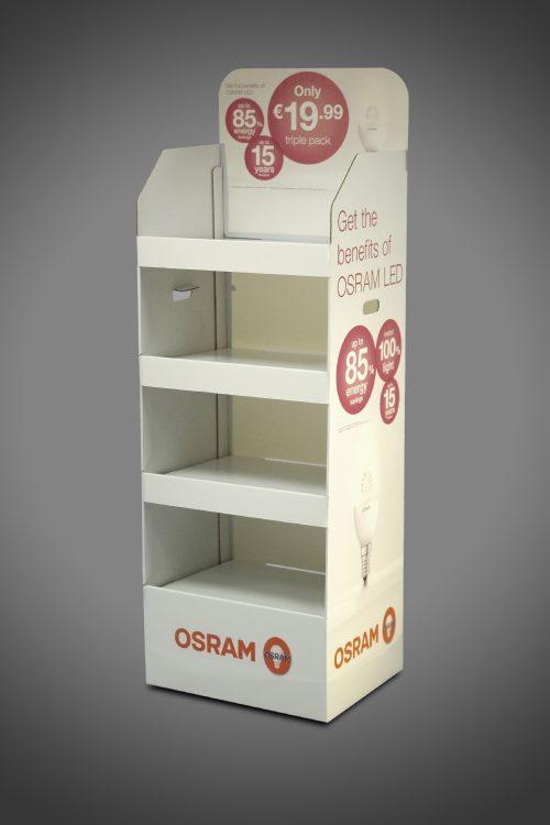 Osram Lightbulb FSDU Cardboard Display Stand Shelf Unit Easy Assemble