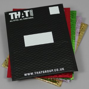 white print on matt metallic black and coloured printed padded bags