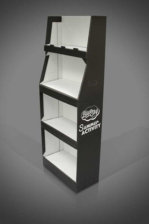 FSDU London 4 Shelf Bespoke Cardboard FSDU Display Unit Black and White 1 colour print