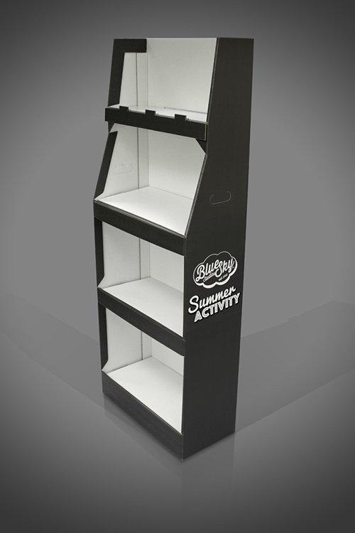 FSDU London 4 Shelf Bespoke Cardboard FSDU Display Unit Black and White 1 colour print