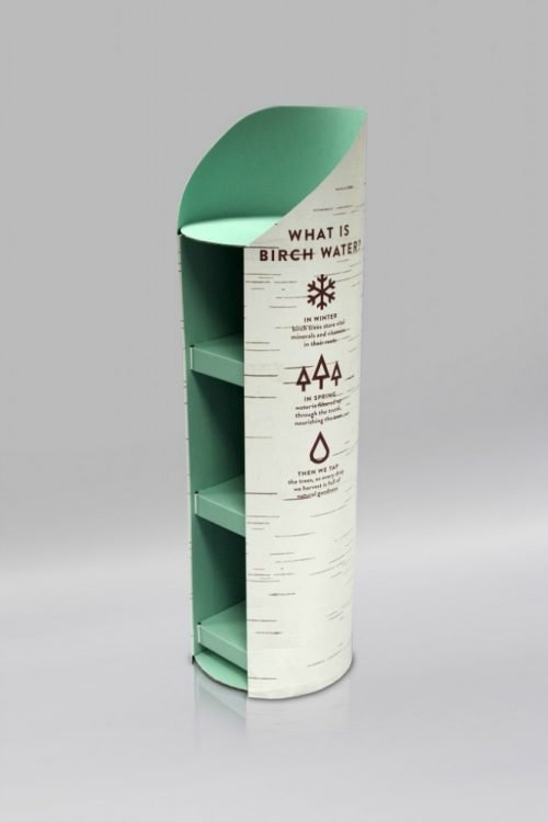Circular/Cylindrical cardboard display unit with Birch water branding