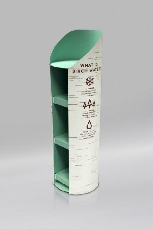 Circular/Cylindrical cardboard display unit with Birch water branding