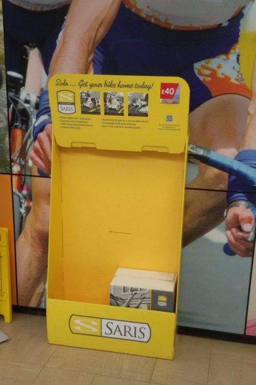 Halfords Saris Bike Rack Dump Bin Cardboard Display Stand