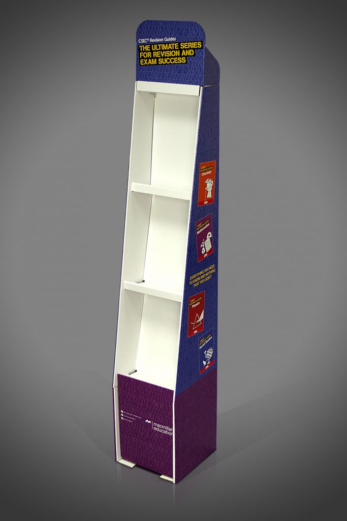 Tall thin narrow space-saving FSDU cardboard shelf book display unit free standing