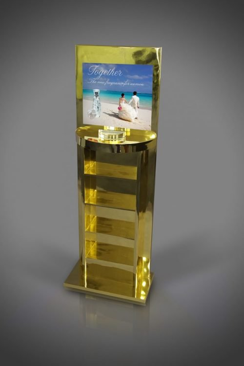 FSDU Design Reflective polished metallic gold perfume display stand cardboard FSDU floor standing display unit