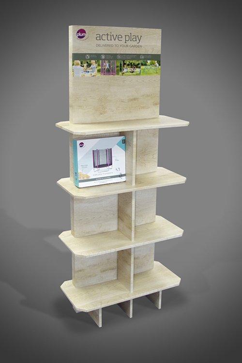 Open shelf 360 degrees strong FSDU display stand made of cardboard, wood effect print