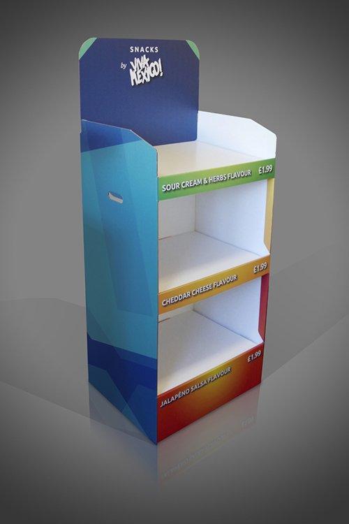 Large 3 shelf FSDU cardboard display unit for food