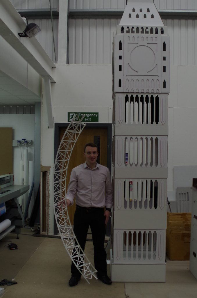 Cardboard Big Ben and London Eye Cardboard Exhibition Display Stand