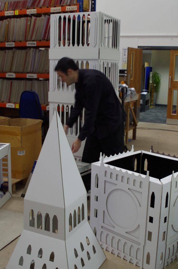 Cardboard Big Ben under construction - how to make a cardboard Big Ben