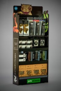Bespoke designed narrow shallow Cardboard Display Stand FSDU for Pets at home, to fit products, with euro hook prongs, custom sized shelfs, shelf end strips.