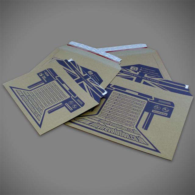 Blue pantone print onto brown cardboard envelope, printed with bleed on the flap, UK branding