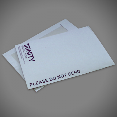 Purple branding on Printed Board-back envelope