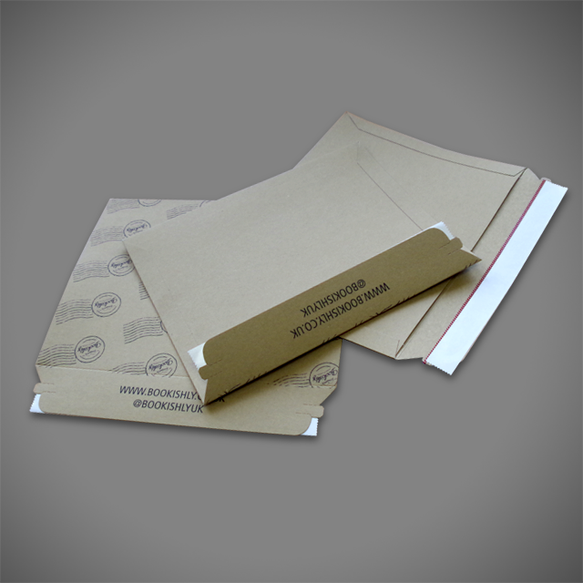 Bespoke custom sized brown allboard envelopes with bleed over-print