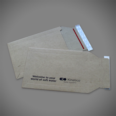 1 colour print onto C5 Pocket brown allboard envelope with rip-strip