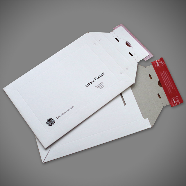 Black print branding on C5 White pocket all-board envelope with tear-off strip