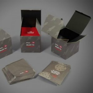 Bespoke square box with shelf and with matching printed paper bags