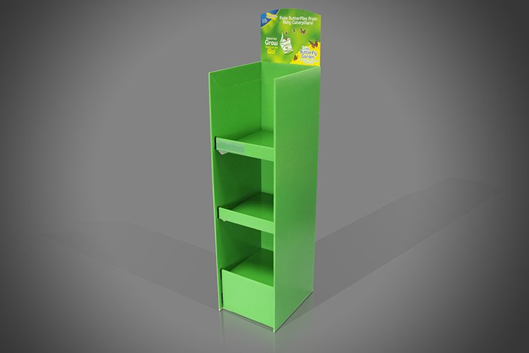 3 Shelf Green Floor Standing Display Unit