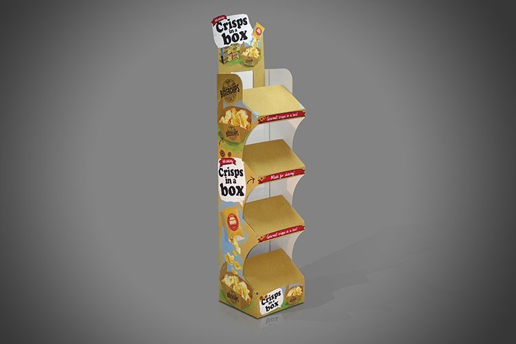 Crisps Kettle Chips Display Stand with cut-away open sided shelves