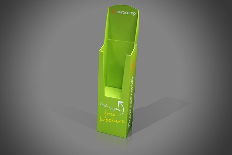 Green Catalogue Dump Bin dispenser for exhibitions and trade counters