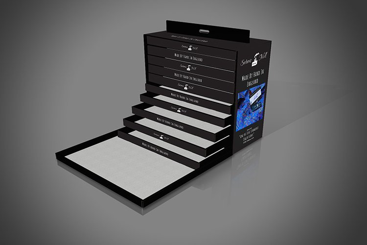 Bespoke Cardboard Display Unit with Drawers, Shirt Display Box for Satanic Mills with Drawers, made from corrugated Cardboard