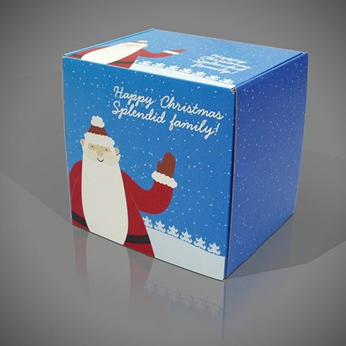 Christmas Presentation Box with Santa and snowflakes print