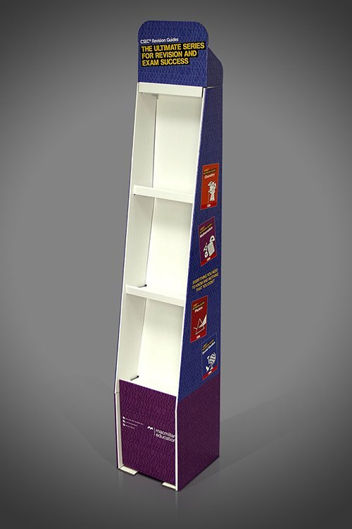 Tall thin narrow brochure display unit, cardboard FSDU