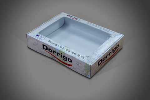 Folding Box Board 3D Maps Display Box with Clear Perspex Window in lid