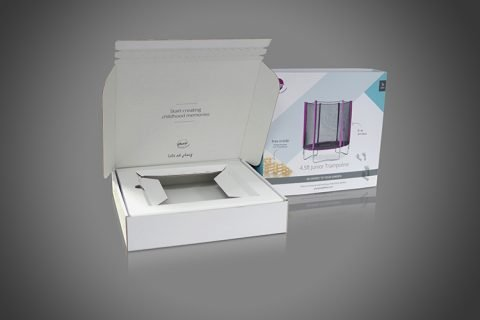 Peel & Seal Closure Display Box with integral corrugated cardboard insert