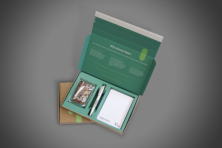 Event Delegate Box with integral bespoke cut cardboard insert, space for pen, Graze Snack, and A6 Pad