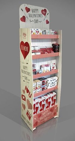 Valentines Day FSDU Cardboard Display Unit Floor Standing