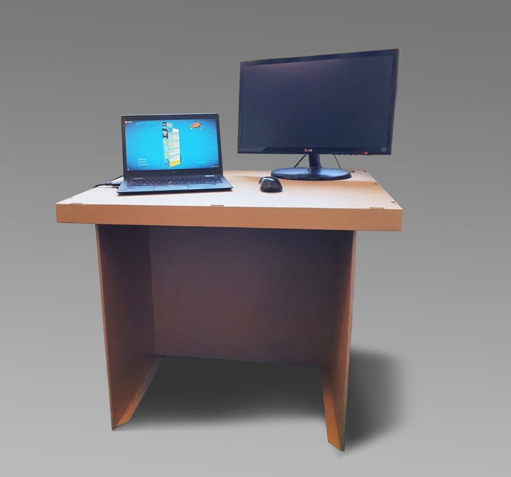 Cardboard desks at home